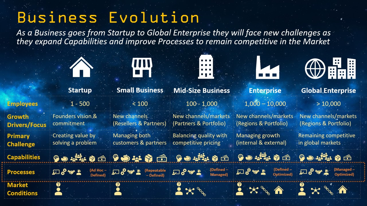 Business Evolution - From Startup to Global Enterprise